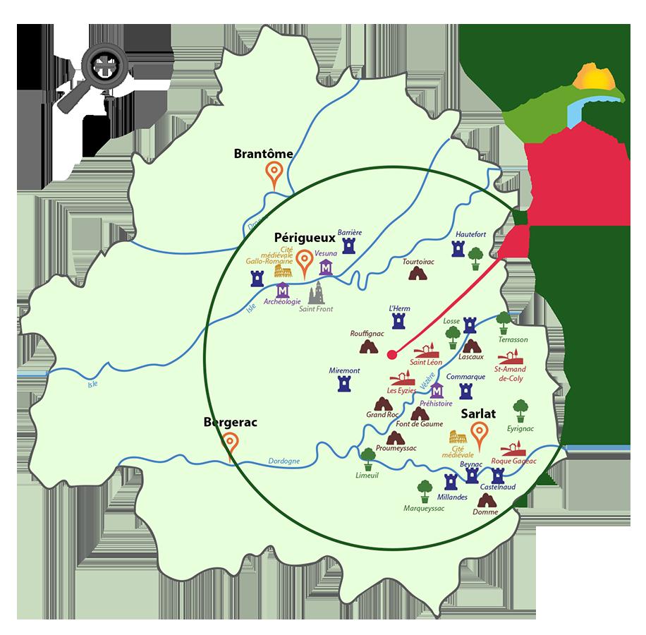 Carte Dordogne camping Rouffignac